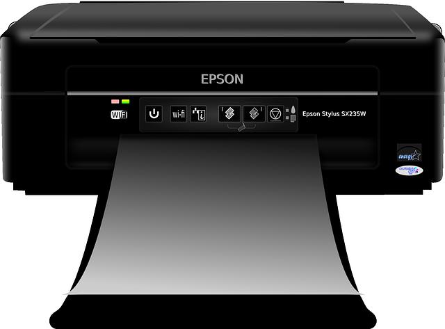 Malá černá tiskárna Epson